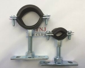 Rubber Lined Steel Munsen / Munson Ring - Pipe Clip with extension & baseplate