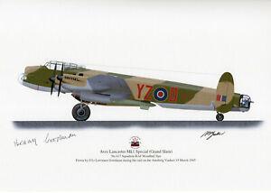 Benny Goodman Hand signed Print Avro Lancaster Mk1 Grand slam 617 Squadron