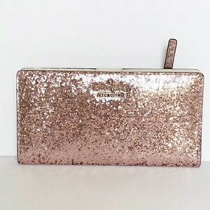 Kate Spade Stacy Glitter Bug Rose Credit Card Holder Wallet New Without Box