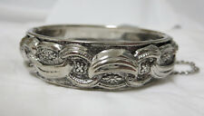 Vintage Silver Tone Hinged Bracelet with Safety Chain