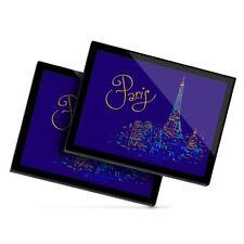 2 x Glass Placemats 20x25 cm - Paris France Travel Eiffel Tower  #21995