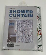 """Carnation Home Fashions """"Deck The Halls"""" Fabric Shower Curtain 70x72 Christmas"""