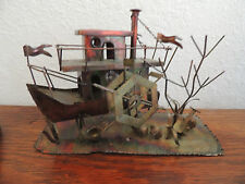 "COPPER DESIGNS HAMMERED HOUSEBOAT WITH WATER MILL /SHOVEL  MUSIC BOX  11"" L X 8"""