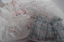 lot of 5 vintage baby girl bib dress booties pinafore plastic pant 6-12 mos