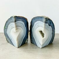 Natural Agate Bookends A+ Quality Quartz Crystal Geode Center Book End Mineral