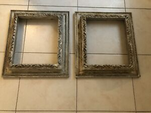 2 Vintage Shabby Chic Wooden Wood Picture Frame Mirror Ornate Baroque 1940's