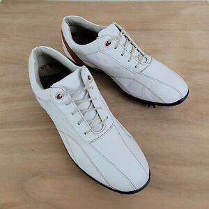 FootJoy LoPro Collection White & Brown Leather 97003 Women's Golf Shoes Size 9 M