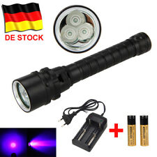 Wasserdicht 3x XPE Lila UV LED Schwarzlicht Tauchen Taschenlampe 18650 bis 100m