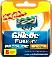 8 NEW GENUINE GILLETTE FUSION PROGLIDE POWER SHAVING RAZORS CARTRIDGES BLADES