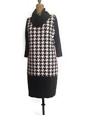 Sandra Darren Black houndstooth  Cowl Neck  Sweater Dress-Sz L