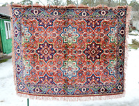 Vintage German Red Blue Bohemian Tribal Area Rug Runner, Deutsch Kilim Carpet