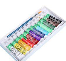 Set 12 Tubi Colori Pittura Ad Olio 12ml + 4 Pennelli + Tavolozza Dipingere dfh