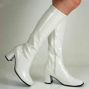 New White 1960s Go Go GoGo Ladies Retro Boots Womens Knee High Boots 60s 70s UK