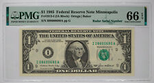 1985 FEDERAL RESERVE NOTE $1 MINNEAPOLIS PMG 66 GEM UNC - RADAR SERIAL NO (680A)
