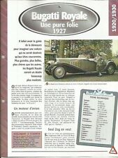 FICHE AUTOMOBILE - BUGATTI ROYALE 1927