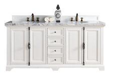 "72"" James Martin Providence White Double Bathroom Vanity + 2CM White Marble Top"