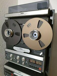 2x BASF Tape Reel NAB in Bronze / Tonbandspule Ø26,5cm für Studer ReVox + Band +