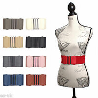 Womens / Ladies Wide Elasticated Waist Belt with Metal Buckle -- Brown Pink