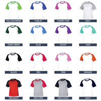 New Raglan Sleeve Baseball Tee Jersey T-Shirt Mens Casual Shirts NWT XS-2XL