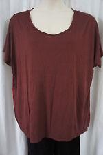 INC Blouse Sz 3X Burgundy Tapestry Semi Sheer Short Sleeve Casual Shirt Top