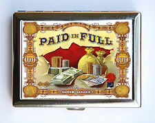 Paid in Full Cigarette Case Wallet Business Card Holder retro cigar label