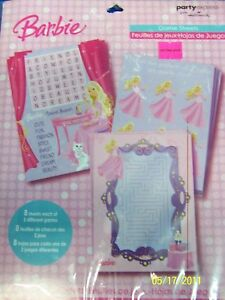 Barbie Perennial Princess Birthday Party Game Sheets