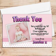 10 Personalised Girls 1st First Birthday Party Thank you PHOTO Cards- N2