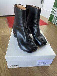 Margiela Black Leather 6cm Tabi Ankle Boots 37.5