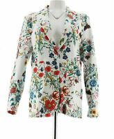 Kelly Clinton Kelly Floral Printed Ponte Blazer White Floral Size L NEW