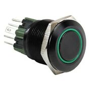 2pcs 25mm Black Stainless Steel Marine Domed Push Button Momentary POWER Switch