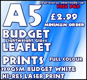 BUDGET LEAFLET / FLYER PRINTING / ADVERTISING 120gsm Gloss WHITE A5