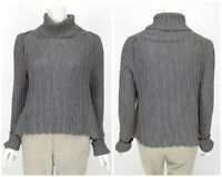 Womens Sarah Pacini Wool Alpaca Mohair Knit Jumper Sweater Grey One Size