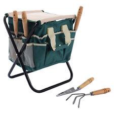 Garden Tool Bag Seat Set W/ Folding Storage Stool Gardening 7 Pieces Toolbag
