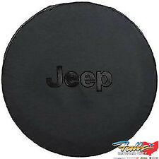 2007-2018 Jeep Wrangler Liberty Black Spare Tire Cover with Black Jeep Logo OEM