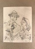 Georg Schott 1906 Ritratto Felice Paio Uomo con Cappello Donna Occhiali Schizzo