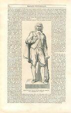 Statue de Jacques Sarrazin sculpteur par Molknecht à Noyon France GRAVURE 1852