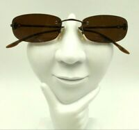 Christian Dior CD3645 Bronze Metal Oval Rimless Sunglasses Eyeglasses Italy