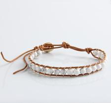 Pulsera del grano de cristal natural piedra Howlite amistad Beach Leather Beads