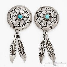 Vintage Native Navajo Pawn Sterling Coin Silver Repousse Dream Catcher Earrings!