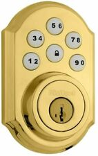 Kwikset 909 Smartcode Electronic Deadbolt Featuring Smartkey In  Polished Brass
