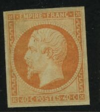 FRANCE YVERT16 SCOTT 18 MH NAPOLEON III 40c Orange - Was stuck to 1862 album