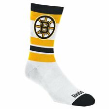 NHL Boston Bruins Reebok Striped Logo Men's Crew Length Socks, Large (9-11)