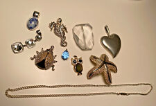 Vintage Estate Jewelry Lot Necklace Pendant Charm Owl Beetle Starfish Seahorse