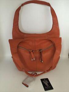 NEW Tignanello Hand Bag Leather Orange Purse