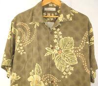 Tommy Bahama Sz Large Hawaiian Aloha Camp Green Shirt Hibiscus Leaves 100% Silk
