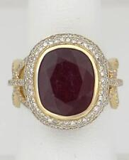 LADIES 14k YELLOW GOLD 8.80ct CUSHION RED RUBY 1.00ct DIAMOND HALO FANCY RING 6