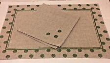 "8 Placemats Sets Linen Polka Dots Oatmeal Lime Green 19x13"" Mats 17"" Napkins"