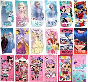Girls Beach Towel Frozen Princess Minnie Ladybug LOL Peppa Pig Bath Swim Towel