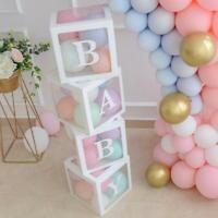 4Pc 12'' Square Transparent Boxes Birthday Christening Gender Reveal Party Decor
