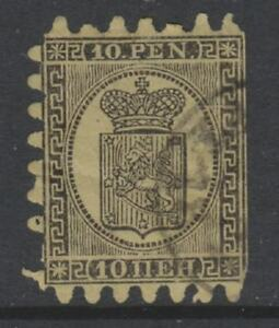 Finland - 1871, 10p, Black/Buff stamp - Wove Paper - Type II - Used - SG 57/58